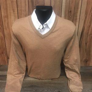 Tan V-neck sweater